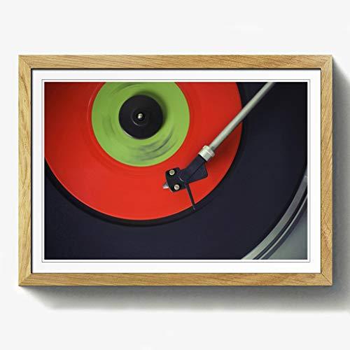 BIG Box Art Plattenspieler Record Vinyl Print mit schwarzem Rahmen, Mehrfarbig, Größe A2, 24,5x 18_ P, Holz, Eiche, 24.5 x 18-Inch - Eiche Plattenspieler