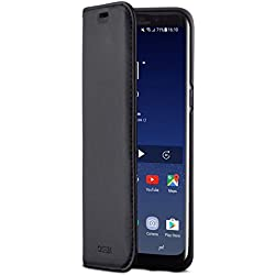 """CASEZA Etui Samsung Galaxy S8 Noir Cuir Végétalien Oslo Housse Folio à Rabat Portefeuille Livre en Simili Cuir Haut de Gamme pour Galaxy S8 (5,8"""") Originale - Ultra Mince avec Fermeture Magnétique"""