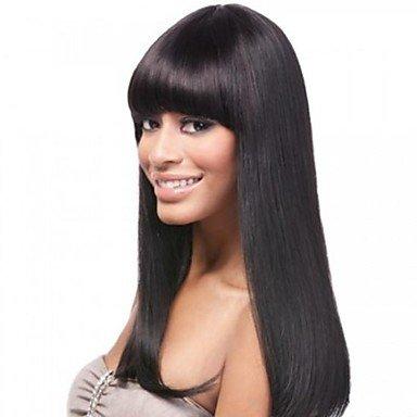 40,6cm Ordentlich Bang 100% indisches Echthaar Haar seidig glattes klebefreien vorne Spitze Perücke für Damen (Indischer Perücke Zopf)
