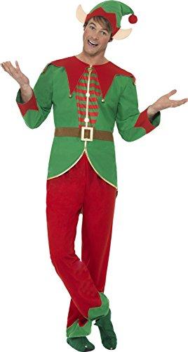 Smiffys 46752M - Herren Elfen Kostüm, Hose, Oberteil, Hut und Ohren, Größe: M, ()