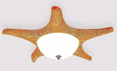 LoveScc Kreativ Ledthe Beleuchtung Jungen Mädchen Zimmer- und Deckenleuchten Deckenlampen Seesterne Kindergarten die Farbe der Orange und die dreifarbige Lichtquelle 60 * 15 Cm