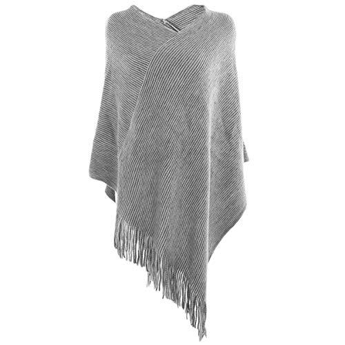 Vbiger Damen Strick Poncho Warm Schal Weich Stolen Wickel Decke Poncho Cape Stilvoll Fransen Schal Pullover, Grau