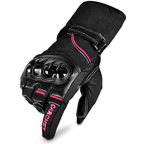 Guanti Moto CE Omologati - Guanti Impermeabili, Touchscreen e Pieno Dita Guanti, Guanti CE di Protezione con Fibra di Carbonio e Pelle, per Moto Bici Sport Racing Moto Cross Country Gloves, Neri L