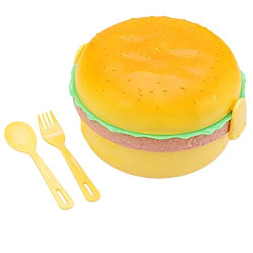 chyaii Boxen Lunchbeutel Bento Vorratsdose Lunch Lebensmittel Obst rund, hermetisch, Form von Hamburger aus Kunststoff mit Gabel Löffel 3Fächer
