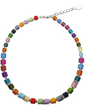 Halskette mit echten Polariswürfel ca. 45 cm + 4.5 cm mit Swarovski Elements