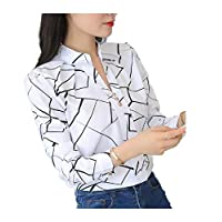 DUe Women Baggy Blouse Pullover Pinstripe Lounge Long-Sleeve Tee Shirt AS1 L