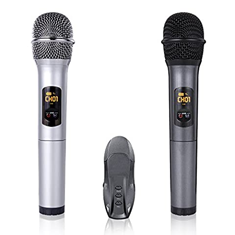 K18-U UHF Wireless Microphone Handheld Dynamic Vocal Microphone Mic with Portable USB Receiver,LED Display, Best for Indoor Outdoor PC/TV/Computer Speaker/Power Amplifier
