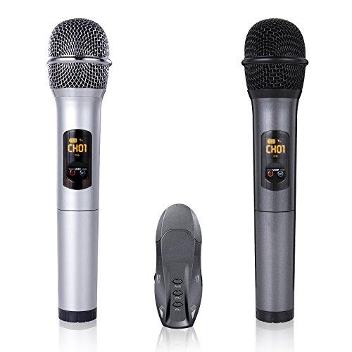 Bluetooth Wireless Mikrofon Set Funkmikrofon UHF Handheld Mikrofon System mit Dual Drahtlose Dynamischen Handmikrofone und USB Empfänger für Karaoke Party Sitzung