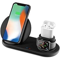 Bestrans Cargador Inalámbrico Rápido, Cargadores por Inducción 3 en 1 para Apple Watch 4/3/2/1 AirPods iPhone XS/XS MAX/XR/X/ 8/8 Plus, Samsung Galaxy S9/ S9 Plus/Note 8/ S8/ S8 Plus, Xiaomi Mix 2s