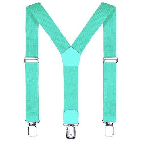 DonDon Kinder Hosenträger türkis 2 cm schmal längenverstellbar für eine Körpergröße von 80 cm bis 110 cm bzw. 1-5 Jahre -