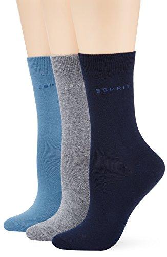 ESPRIT Damen Socken Uni-Mix, 3er Pack, Gr. 36/41, Mehrfarbig (sortiment 0060)