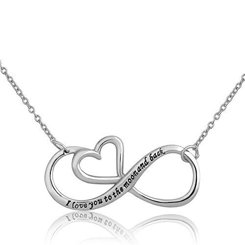 "OutCharmed Halskette mit Infinity-Herzanhänger, mit englischsprachiger Aufschrift ""I Love You To The Moon And Back"", 925erSterlingsilber"