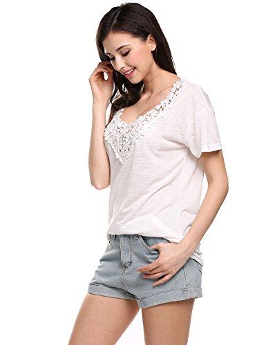 9ee9a29db36a10 ... Meaneor Damen Spitzenshirt Tops Sommer Loose Kurzarm Rundhals Spitze  Shirt Bluse Hemd T-Shirt Weiß ...