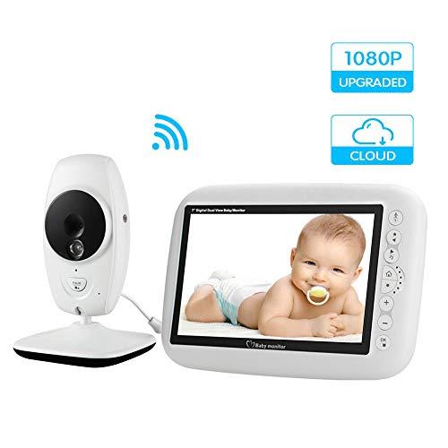 HBIAO Vigilabebés Inalambrico, Baby Call Camera con 7 Pulgadas 1080P LCD IR Sensor de visión Nocturna...
