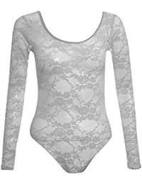 New Womens Neon Floral Lace Full Sleeve Leotard Bodysuits Top 8-14
