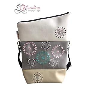 Handtasche Blumenmeer Creme Tasche Foldover Schultertasche