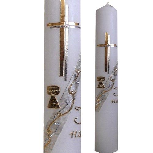 Taufkerze Kommunionkerze Konfirmationskerze 400x40 Schlicht Kelch gold silber mit Namen Datum ITP141