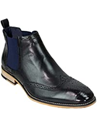 Cavani Mens Chelsea Boots Hound Leather Look Slip On Classic MOD Shoes 7e365c49025