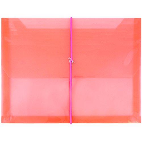 Jam Papier® Kunststoff Expansion Briefumschläge mit Elastic Band Verschluss-Brief Booklet Größe (93/4x 25/20,3x 33cm)-12Packungen und einzeln verkauft 12er-Pack rot