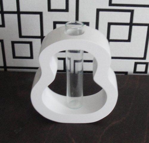 endy, klein, Holz mit Glaseinsatz, Mangoholz (weiß) (Kleine Weiße Vase)