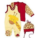 Baby Sweets Baby Set Strampler Shirt Mütze Unisex gelb braun rot | Motiv: Baby Giraffe | Babyset 3 Teile für Neugeborene & Kleinkinder | Größe Newborn (56)...