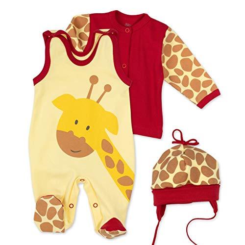 Baby Sweets Baby Set Strampler Shirt Mütze Unisex gelb braun rot | Motiv: Baby Giraffe | Babyset 3 Teile für Neugeborene & Kleinkinder | Größe 0-3 Monate (62)...