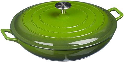 AmazonBasics - Cacerola de hierro fundido esmaltado con tapa, 3,1L, Verde