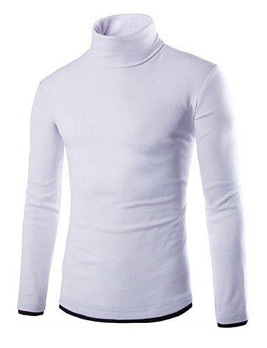 GS~LY Maglioni uomo Pullover Uomo Casual / Taglie forti Tinta unita Standard Manica lunga Cotone / Poliestere , white , xl