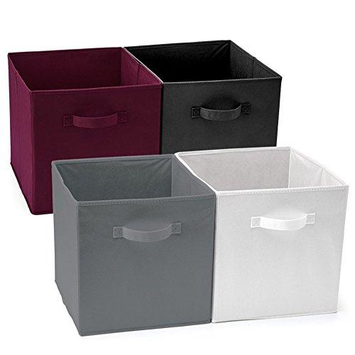 EZOWare Caja de Almacenaje x 4 Unidades, Almacenaje Juguetes, Caja para Ropa (33 x 38 x 33 cm) (Colores Calientes)