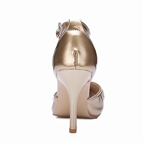 Mee Shoes Damen Stiletto ankle strap Schnalle Pumps Gold