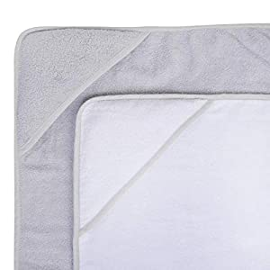 Hooded Baby Towel Pack of 2 Soft 100% Cotton Bath Wrap, Grey & White