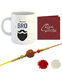 YouBella Rakhi, Mug and Greeting Card Combo for Brother (Multi-Colour) (YBRK_96)