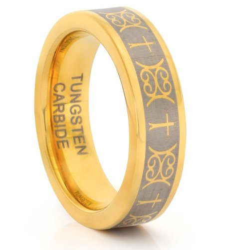 TWG Ehering Wolframcarbid mit lasergraviertem, keltischem Kreuzdesign Größen 14,75-20,3 erhältlich Breite 6mm goldfarben -