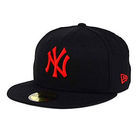 New York Yankees Black/Red MLB 59FIFTY [5950] Fitted Cap Size 6 7/8