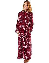 6e0c4e2c32 Slenderella GL8747 Women s Rasberry Red Floral Robe Long Sleeve Dressing  Gown