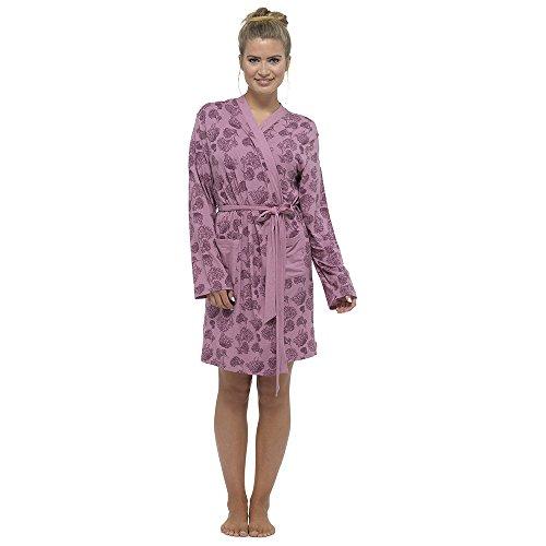 Damen Bademantel Sommer Baumwollemischung Leicht Robe Rosa