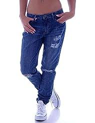 Damen Boyfriend Jeans Boyfriendcut Hose Baggy Haremshose Chino S 36 M 38 L 40 XL 42