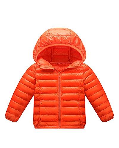 Giacche Piumino Con Cappuccio Classico Ultra Leggero Del Cappotto Parka Zipper Invernale Per Unisex Bambine E Bambino Orange 130