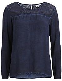 Object Wash Damen langarm-Bluse mit Spitze | Shirt mit langen Ärmeln und Spitzen-Details und Knöpfen im Nacken