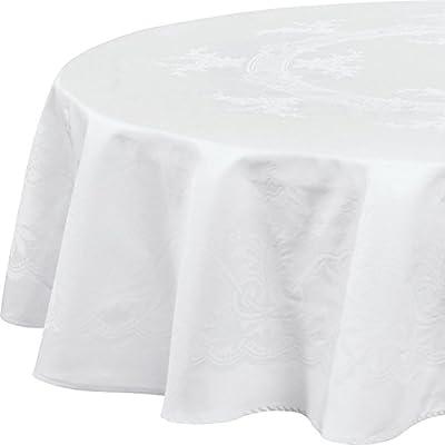 Bauer Damast Tischdecke Murano 160 cm rund, weiss von Curt Bauer GmbH auf Gartenmöbel von Du und Dein Garten
