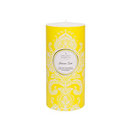 Shearer Candles Duft-Stumpenkerze, Zitronenduft, Baumwolldocht, Duft & ätherische Öle, gelb, Silber, weiß, groß -