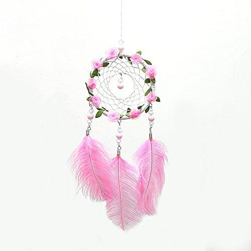Traumfänger mit Rose Rebe Feder Perlen handgefertigte Wandbehang Dekoration für Mädchen Zimmer Hochzeit Party Valentinstag Geschenk - Rosa