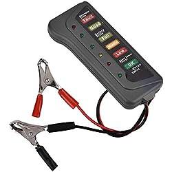 Duokon 12V LED Testeur de Batterie de Voiture Vérification de Démarrage de l'alternateur Batterie et Alternateur Testeur Analyseur de Batterie