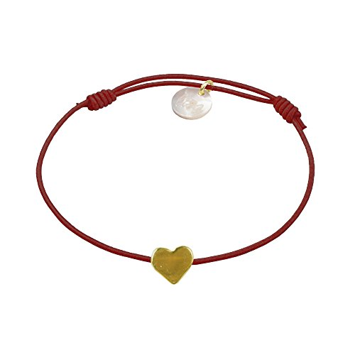 lua accessories - Armband Damen - Elastikband - größenverstellbar - hochwertig vergoldetes Herz - Mini Heart Gold (Bordeaux) - Bordeaux-mini-anhänger