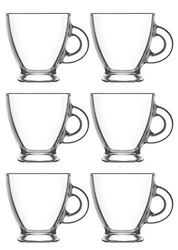 Lot de 6 tasses avec poignée, tasses à café en verre transparent, idéales pour café, café, thé, thé chaud, etc, capacité 95CC, 6 unités