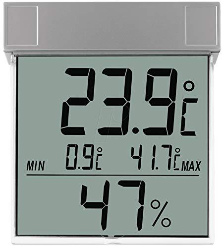 TFA Dostmann Vision digitales Fenster-Thermo-Hygrometer, 30.5020, großes Display mit Außentemperatur und Luftfeuchtigkeit