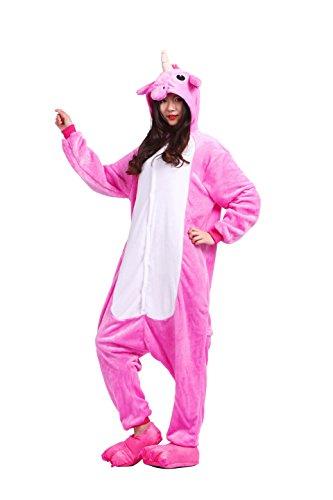YUWELL Einhorn Pyjamas Kostüm Jumpsuit Tier Schlafanzug Erwachsene Unisex Fasching Cosplay Karneval Unicorn, Rose rot Einhorn XL (Height:180-190cm)