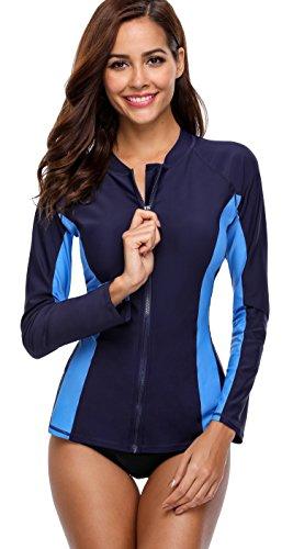 Attraco Women Long Sleeve Rash Vest UPF 50+ Rashguard UV Sun Protection Swim Top Zip Front Swimsuit Color Block Shirt