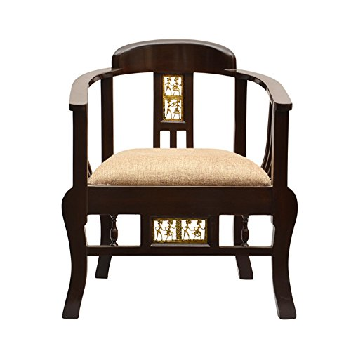 Exclusivelane Maharaja Teak Wood Living Room Chair With Dhokra Work (Brown)