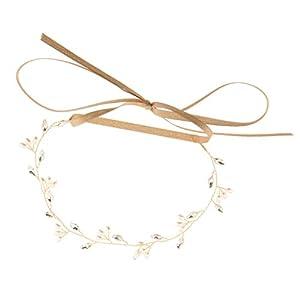 Gazechimp Vintage Perlen Strass Rebe Kopfstück Blätter Haarbänder Haarschmuck Hochzeit